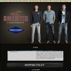 An ad template for a clothing website featuring the brand Hollister with a male model in three different clothes and poses