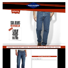 A sample of an ad template for a clothing website featuring a man's lower body wearing a pair of Levi's 550 Jeans in blue