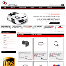 A sample of an eBay store design template for an automotive parts store feauting a white 4-wheeler car and various car parts