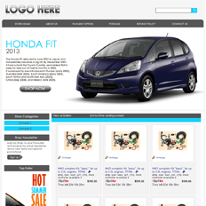 An example of an eBay store design template for a cars and automotive parts seller featuring a Honda Fit 2013 in Vortex Blue