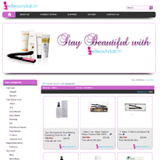 A sample of an eBay store design template for a beauty website that says