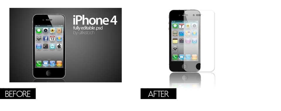 A before and after comparison of an iPhone 4 photo when the background was still present and when the background is removed