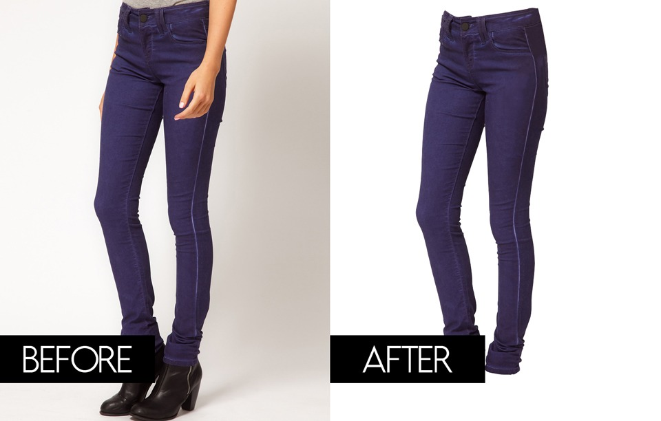 A before and after comparison photo of a women's lower body wearing blue jeans vs. when she and the background is edited out