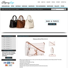 An ad template for a bags and accessories site showing a black, brown, cream handbag and another white bag with chain straps