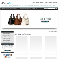 A sample web desigh for a bags and accessories store saying