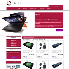 A sample website for a laptop and accessories store featuring an orange laptop running Windows 8 opened at different angles