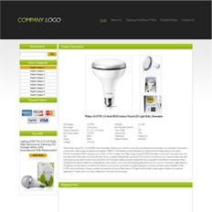 A sample ad template on a website of a lighting store, featuring a flat white LED light bulb and its product specifications