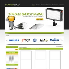A sample website or store template for a lighting company selling LED bulbs and other light fixtures from different brands