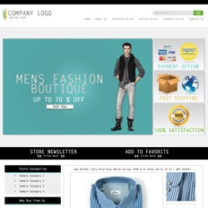 A sample of an ad template for a clothing website featuring a man in a long-sleeved shirt, vest, pants, and boots as a model