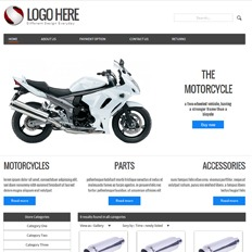 A sample website design for a motorcycle, parts, and accessories that says