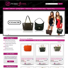 A sample of an ad template for a bags and accessories website showing a brown and black luxury shoulder bag with 2 models