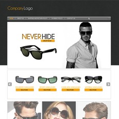 A sample of a web project for a sunglasses store that says