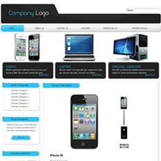 A sample website or store template of a gadget business showing Apple iPhone, and computers and laptops from other brands