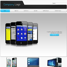 Sample of a website's landing page for a gadget and accessories store featuring five Apple iPhone 5 Space Gray in V formation