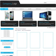 Sample website design and layout of a tech store featuring a white and black iPhone 4, a laptop, and a personal computer unit