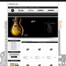 Sample website design and layout of a musical instruments store featuring the body of a tricolored guitar on black background