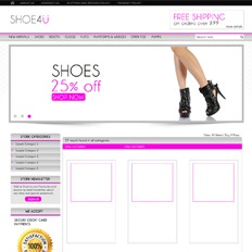 A sample website for a shoe store that says